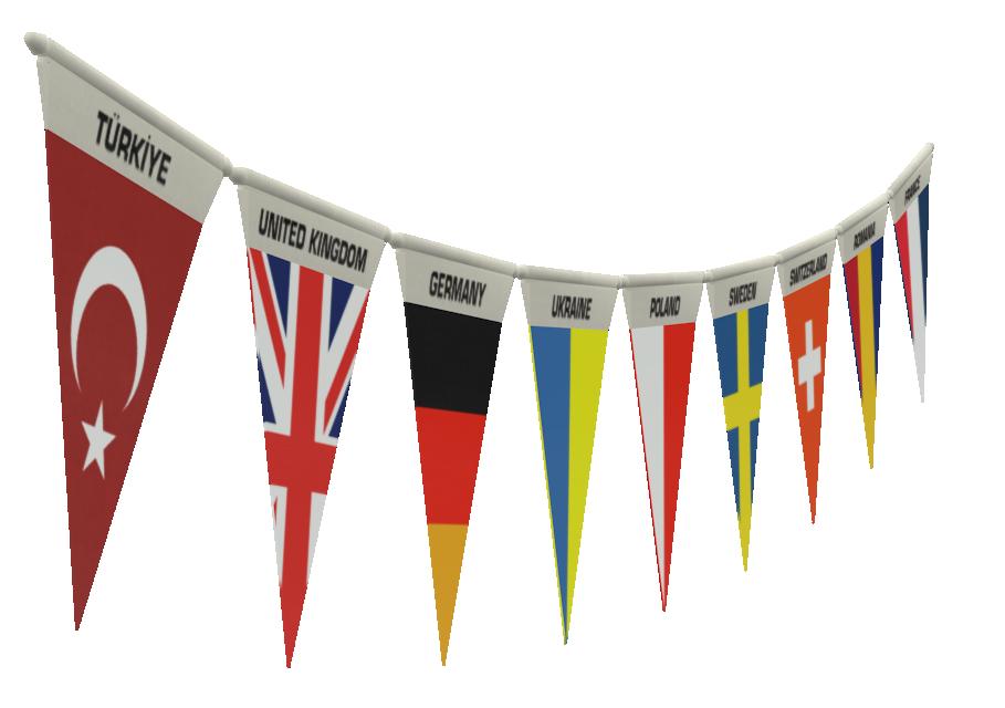 Flags Line (Customizable) (Bayraklar (Özelleştirilebilir)) for Euro Truck Simulator 2.